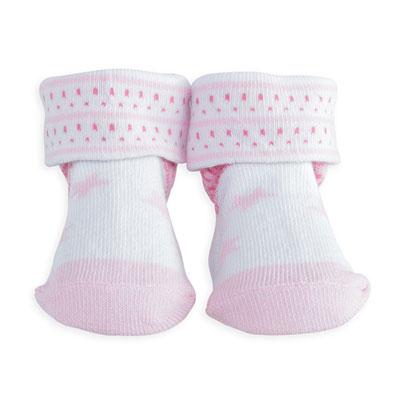 Chaussettes bébé étoiles rose Trois kilos sept