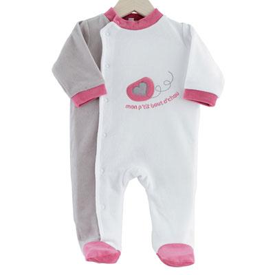 Pyjama bébé dors bien mon p'tit bout d'chou gris-blanc Trois kilos sept
