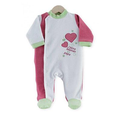 Pyjama bébé dors bien j'aime maman et papa vert fushia Trois kilos sept