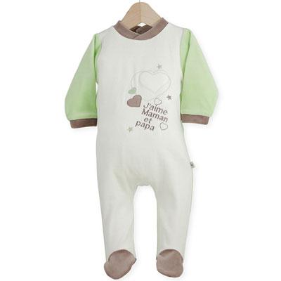 Pyjama bébé dors-bien j'aime maman et papa Trois kilos sept