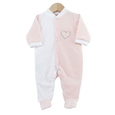 Pyjama bébé dors bien coeur rose blanc 0 mois Trois kilos sept