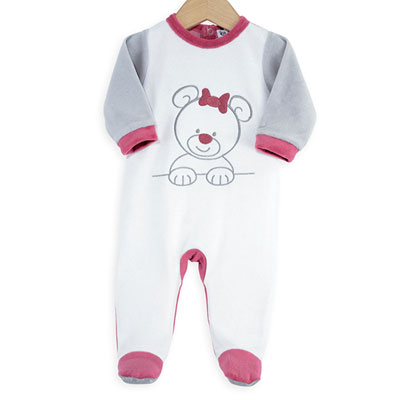 Pyjama bébé ourson blanc rose Trois kilos sept