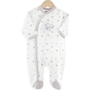 Pyjama bébé coeurs bleu Trois kilos sept