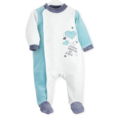 Pyjama bébé j'aime maman et papa blanc turqoise Trois kilos sept