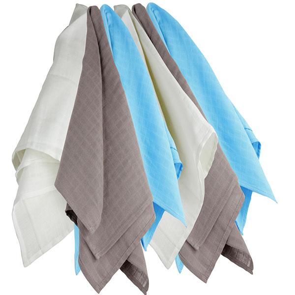 Lot de 6 langes couches hydro blanc/gris/bleu 70x70cm Trois kilos sept