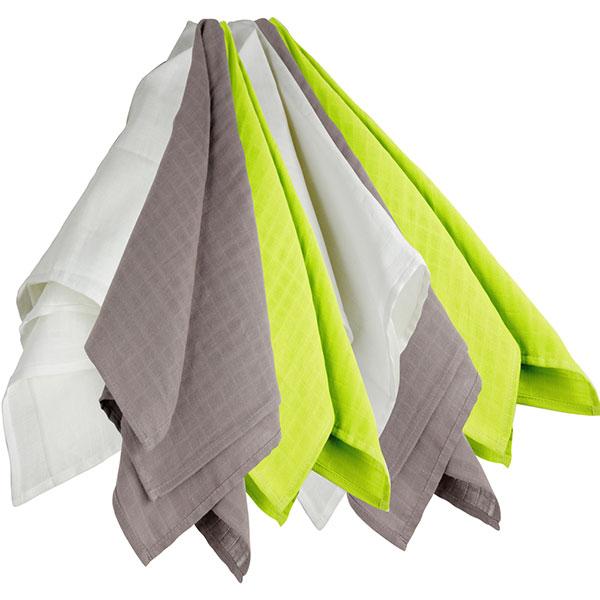 Lot de 6 langes couches hydro 70x70 cm blanc-gris-vert Trois kilos sept