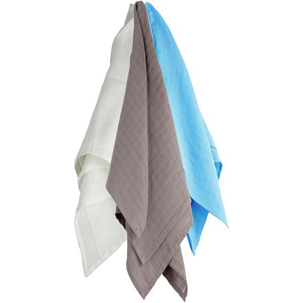 Lot de 3 langes couches hydro 115x115 cm blanc-gris-bleu Trois kilos sept