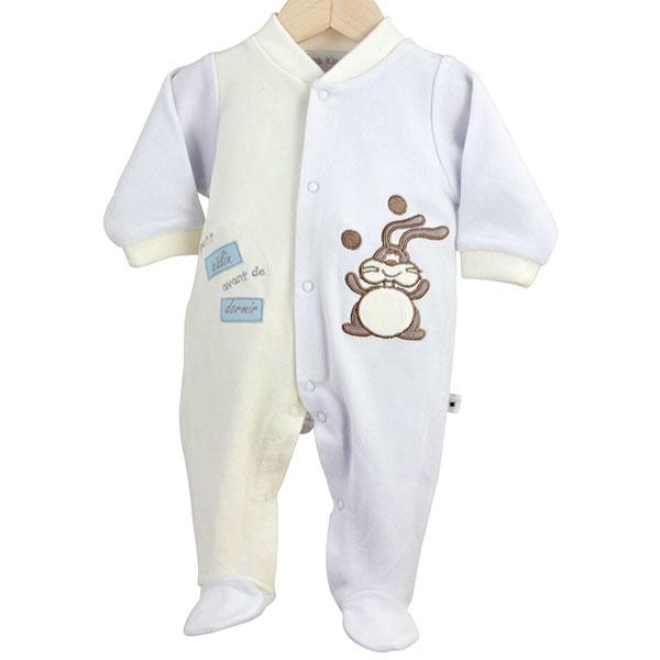 Pyjama dors bien y-lapin fond bleu Trois kilos sept