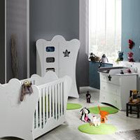 Chambre bébé trio king blanche lit + commode + armoire
