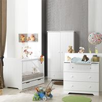 Chambre bébé trio oslo blanc lit + commode + armoire