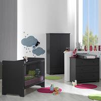 Chambre bébé trio oslo ardoise lit + commode + armoire