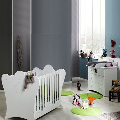 Chambre bébé duo king blanc lit + commode Loupiot