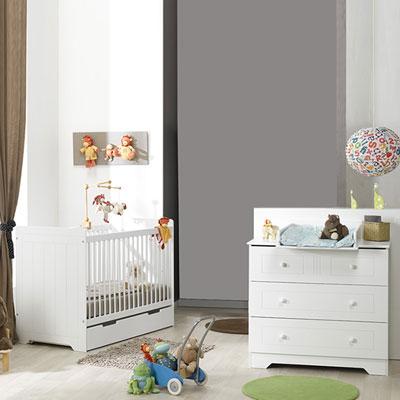 Chambre bébé duo oslo blanc lit + commode Loupiot