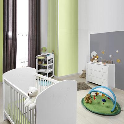 Chambre bébé duo soho blanc lit + commode Loupiot