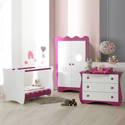 Chambre bébé trio doudou prune lit + commode + armoire Loupiot