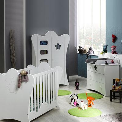 Chambre bébé trio king blanche lit + commode + armoire Loupiot