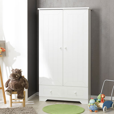 Chambre bébé trio oslo blanc lit + commode + armoire Loupiot