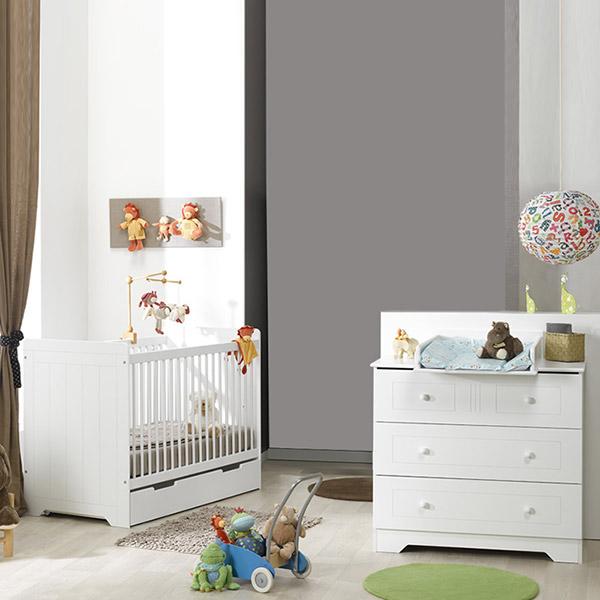 chambre b b duo oslo blanc lit commode 15 sur allob b. Black Bedroom Furniture Sets. Home Design Ideas