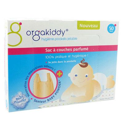 Boîte de 50 sacs à couches parfumé talc bébé Orgakiddy
