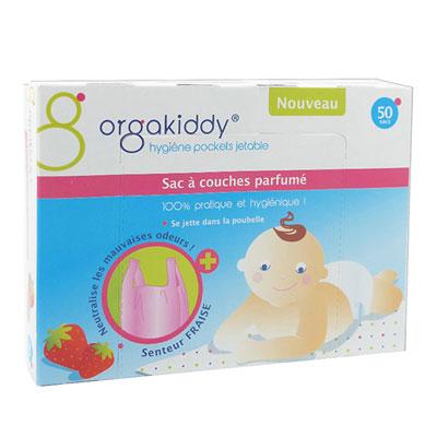 Boîte de 50 sacs à couches parfumé fraise Orgakiddy