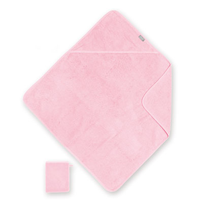 Sortie de bain bébé 75x75cm rose Coolay