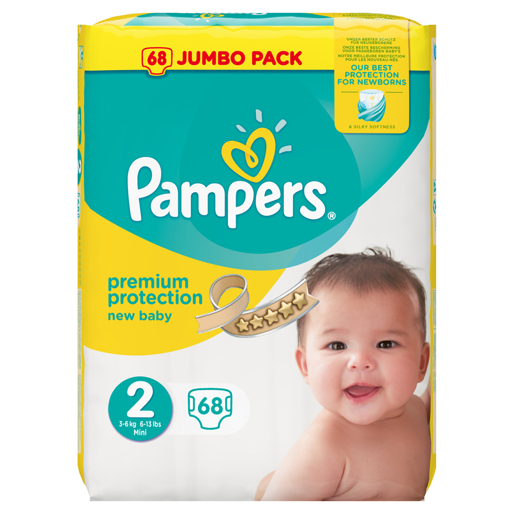Couches premium new baby taille 2 3 6 kg 68 couches de pampers en vente chez cdm - Couche pampers new baby taille 2 ...
