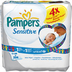 Lot de 4 paquets de 56 lingettes sensitive pas cher