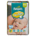 Couches new baby mini taille 2 (3-6 kg) format 1 x 58 couches pas cher