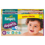 Giga pack 112 couches active fit maxi t4 (7/18 kg) pas cher