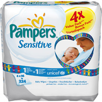 Lot de 4 paquets de 56 lingettes sensitive