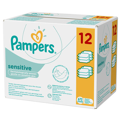 Lingettes bébé sensitive lot de 12 paquets de 56 lingettes Pampers