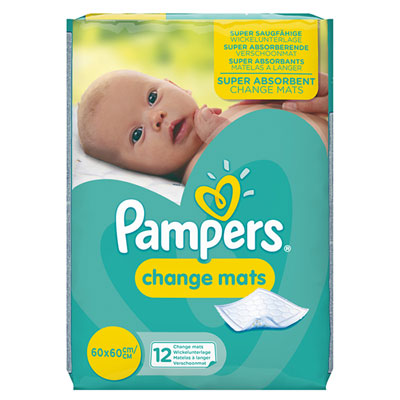 Lot de 12 protèges matelas à langer jetables Pampers