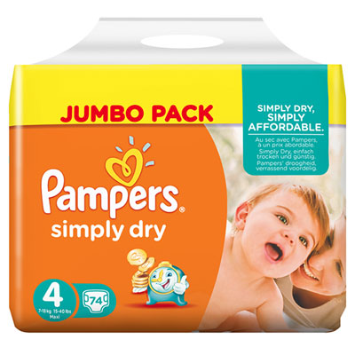 Couches simply dry taille 4 (7-18 kg) 74 couches jumbo pack Pampers