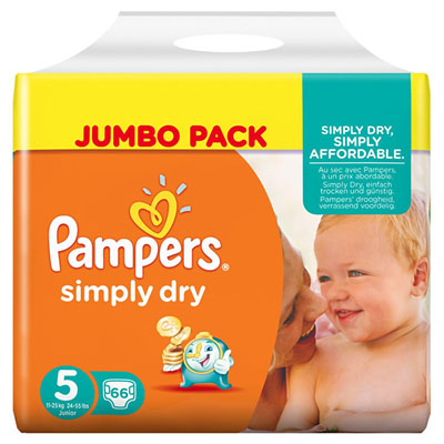 Couches simply dry taille 5 (11-25 kg) 66 couches jumbo pack Pampers