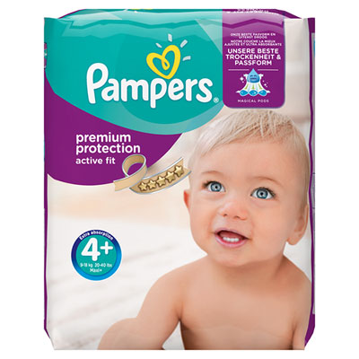 Couches premium active fit taille 4+ (9-18 kg) 140 couches Pampers