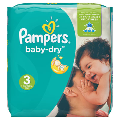 Couches baby dry taille 3 (4-9 kg) 198 couches Pampers