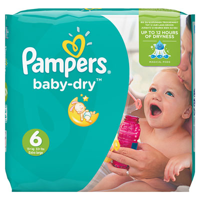 Couches baby dry taille 6 (16-30 kg) 124 couches Pampers