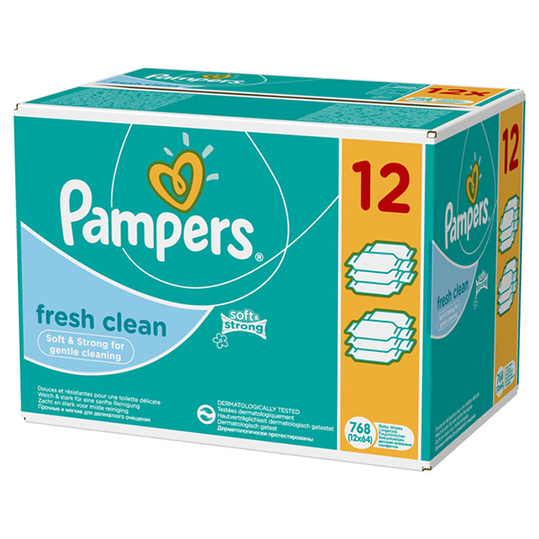 Lingettes bébé fresh clean lot de 12 paquets de 64 lingettes Pampers