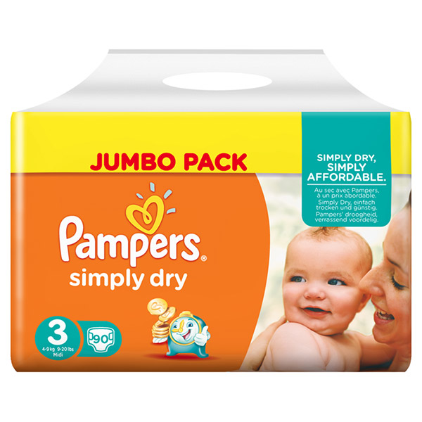 Couches simply dry taille 3 (4-9kg) 90 couches jumbo pack Pampers
