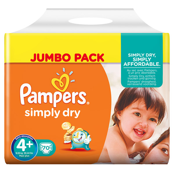 Couches simply dry taille 4+ (9-20 kg) 70 couches jumbo pack Pampers