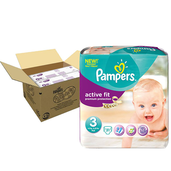 Couches premium active fit taille 3 (5-9 kg) 204 couches Pampers