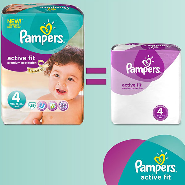 Couches premium active fit taille 4 (8-16 kg) 168 couches Pampers