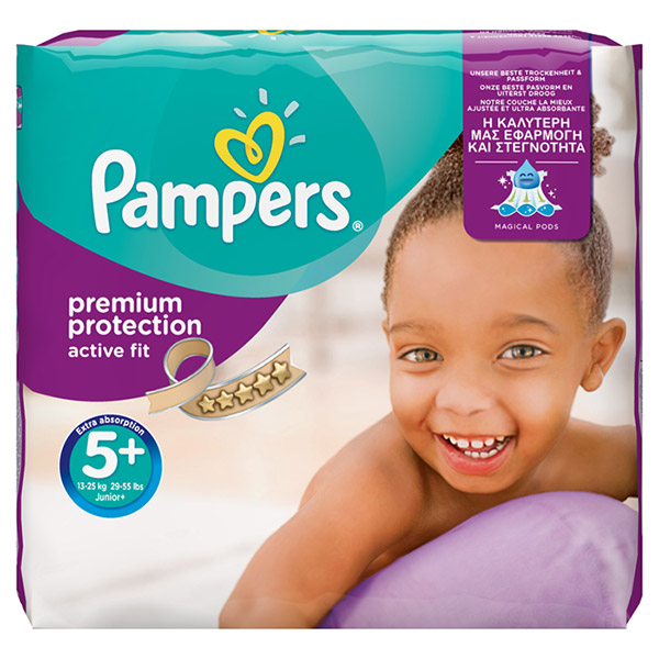 Couches premium active fit taille 5+ (13-27 kg) 124 couches Pampers