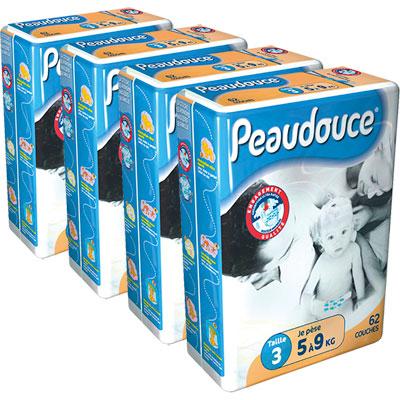 Carton de 4 paquets peaudouce t3 5/9 kg de 62 couches Peaudouce