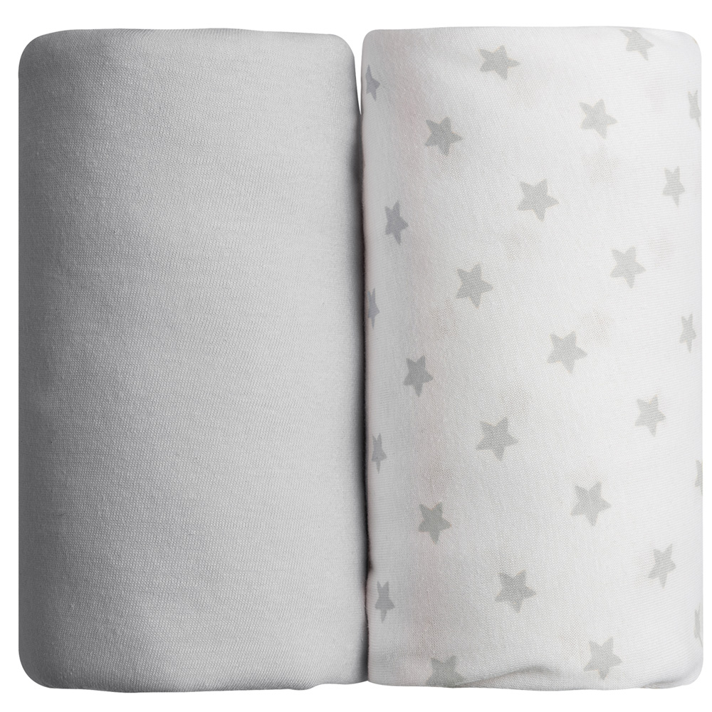 lot de 2 draps housse 60 x 120 cm toiles grises de babycalin chez naturab b. Black Bedroom Furniture Sets. Home Design Ideas