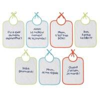 Lot de 7 bavoirs naissance message