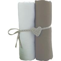 Lot de 2 draps housse 60x120cm blanc et taupe