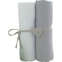 Lot de 2 draps housse 60x120cm blanc et gris
