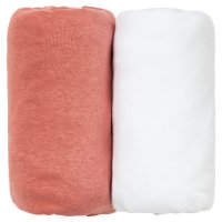 Lot de 2 draps housse 60 x 120 cm terracotta / blanc