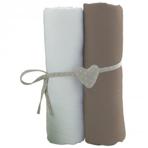 Lot de 2 draps housse bébé jersey 60 x 120 cm blanc / taupe